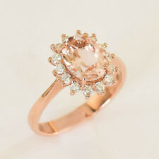 MORGANITE RING 1.8ct GENUINE DIAMONDS 18K ROSE GOLD SIZE N VALUATION $4690 NEW