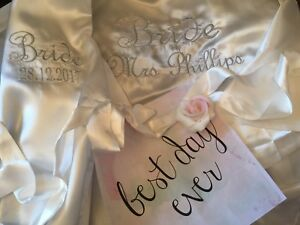 Personalised Embroidered Luxury Ivory 90cms length satin dressing gown robe gift