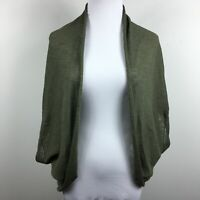 Chicos L XL Cocoon Cardigan Sweater Green Short Sleeve Open Front Round Hem