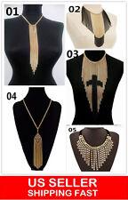 Long Fringe Necklace Set Gypsy Ethnic Tribal Bohemian cross