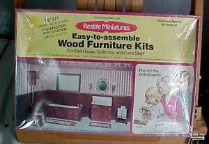 Sealed 1977 Realife Miniatures Wood Furniture Kit Heritage Bathroom Series 197