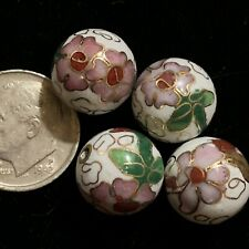 4 Vintage White Pink Flowers Leaves Cloisonne Chinese Enamel Round Beads 12mm