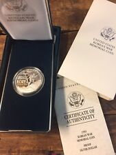1991 Korean War Memorial Coin Proof Silver Dollar US Mint w/Box Papers