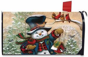 Winter Friends Snowman Magnetic Mailbox Cover Primitive Standard
