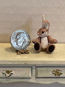 Vintage Artisan LORI HALL Tiny Jointed Bunny Rabbit Dollhouse Miniature 1:12