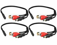 4x Mini Mic Audio Microphone Cable for CCTV Security Camera With Power Cable