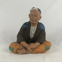 Hakata Clay Doll Vintage Made in Japan 1940's Sitting Man w Rope