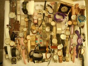 Joblot 64 Mixed Watches & a Working Vintage travel Alarm Clock Spares or Repair