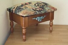 FOOT STOOL ASIAN TAPESTRY COVER ALL WOOD WITH STORAGE