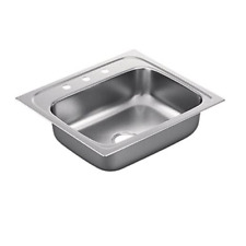 """Moen G221963 2200 Series 25 x 22"""" 3 Hole Stainless Bowl Drop-in Kitchen"""