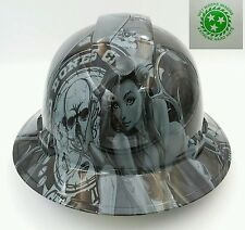FULL BRIM Hard Hat custom hydro dipped , OSHA approved BAD BONES CLUB GREY !!