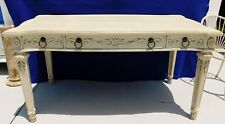 """Large Ornate Broyhill 60"""" Ivory Antique Style Solid Wood Carved Oversized Desk"""