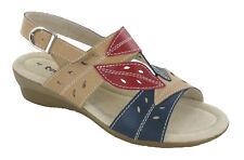 Cushion Walk Open Toe Leather Slingback Summer Wedge Buckle Leaf Sandals Womens