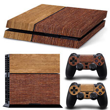 Sony PS4 Console and Controller Skins -- Dark and Light Wood Grain (#4-0960)