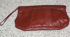 vintage clutch purse handbag red clay color wrist strap suede lined slip pocket