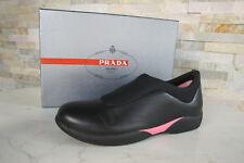 PRADA Gr 41 Slipper Mokassins Slip-On Halbschuhe Schuhe schwarz pink NEU UVP395€