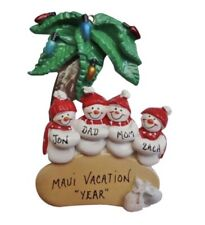 Personalized Snowman Family of 4 Island Vacation Ornament