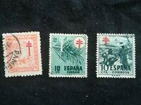 lot N°121 15 timbres ESPAGNE CROIX DE LORRAINE