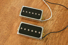 HUMBUCKER SIZED P90 PICKUP SET ALNICO 5 MAGNETS BLACK ENCASED IN CHROME