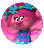 Trolls personalised edible Image cake topper real icing sheet 19cm #104