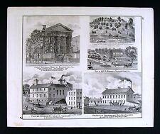 1876 Illinois County Map Fulton & Franklin Brewery Galena - Pulaski Farm Views