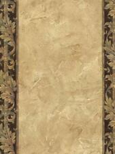 Wallpaper Designer Brown Stripe with Acanthus Leaf Scroll on Tan Faux