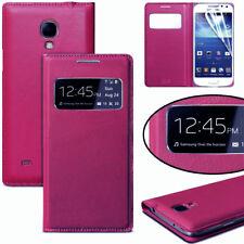 For Samsung Galaxy S4 Case, S View Flip Cover Folio Case Dark Pink