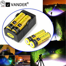 4 PCS Vander 18650 6000mAh 3.7v li-ion Rechargeable Battery and 2 slots charger