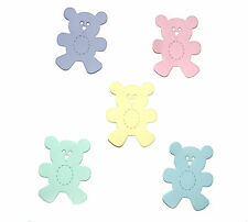 30 Sizzix Die Cut Teddy Bears Assorted Pastel Colours