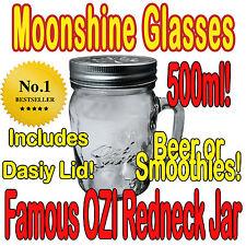 6 x Handle Drinking Jars / Beer / Moonshine Glass Pint 500ml Free Straw Lid