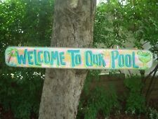 "WELCOME TO OUR POOL - 42"" TROPICAL TIKI HUT BAR POOL PATIO BEACH SIGN PLAQUE"