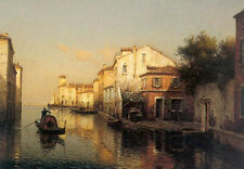 Wonderful oil painting cityscape A View of Grand Canal Venice with canoe sunset
