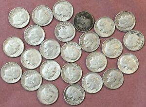 25 SILVER ~ 1963-D Roosevelt Dimes ~ Denver Mint ~ $2.50 Face SILVER