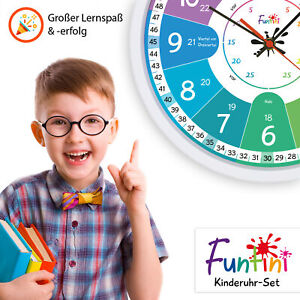 Funtini ◆ Kinder Lernuhr-Set ◆ Wanduhr lautlos Uhr Ø30cm ◆ Uhrzeit lesen lernen