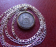 "1914 .925 ENGLISH SILVER SIXPENCE Pendant on a 24"" Silver Link Style chain."