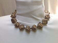 17�, Handcrafted, Mozambique, Unique 1/2�sq African Ceramic Bead Necklace Choker