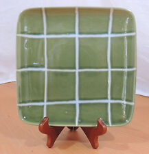 """RETRO GREEN SQUARES Style Eyes by Baum Brothers Salad Plates 8 1/2"""""""