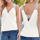 Mujer Camiseta Sin Mangas Verano De Tirantes Casual blusa BLANCO TALLA S M L XL