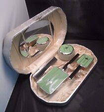 Art Deco Vanity Set in Case Green Silver Black Brush Mirror Jar Bakelite Enamel