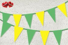 Spring Green Yellow Coloured Bunting Banner 15 Flags 12ft Garden by PARTY DECOR