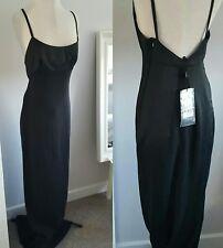 NWT GUCCI TOM FORD FALL 2001 BLACK GOWN DRESS SATIN STRIPE LOW BACK UK 8 IT40
