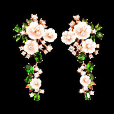 925 Silber Ohrringe 48x26 mm.*Roségold beschichtet*Perlmuttblumen Chrom Diopside