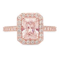 2.07 ct Emerald Halo Pink Stone Promise Bridal Wedding Ring 14k Rose Gold