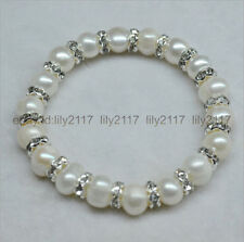 Wholesale 100%Genuine natural 8-9mm white pearl + rhinestone bracelet 7.5 inches