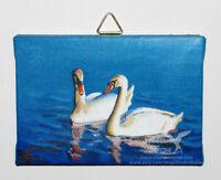 Original Mini Acryl Gemälde Leinwand 7x10cm Tiere Vogel Schwäne fixiert matt