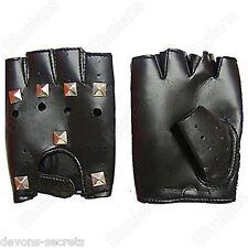Mens ladies fingerless black studded biker sexy lingerie faux leather gloves G2