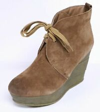 SBICCA REPRISE WOMEN'S ANKLE BOOTS PLATFORM WEDGE HEEL LACE UP SUEDE BOOTIE NEW