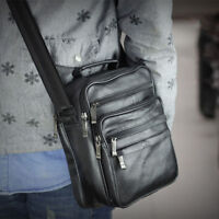 Men's Small Handbag Leather Tablet Bag Messenger Shoulder Crossbody Bags Satchel