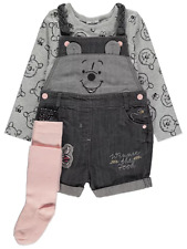 Disney Girls Winnie the Pooh Dungarees Top and Tights 3 Piece Outfit BNWT