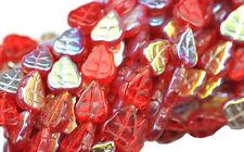 25 RUBY RED AB CZECH GLASS LEAF BEADS 10MM